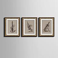Hudba Kanvas v rámu / Set v rámu Wall Art,PVC Zlatá Včetně pasparty s rámem Wall Art