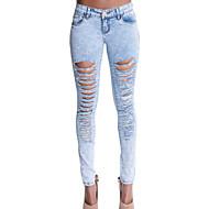 Damen Hose - Einfach / Street Schick Jeans Baumwolle Mikro-elastisch