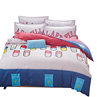 Geometric Duvet Cover Sets 4 Piece Polyester Pattern Reactive Print Polyester Twin / Full / Queen / King4pcs (1 Duvet Cover, 1 Flat