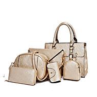 Mulher Bolsas Todas as Estações Couro Ecológico Conjuntos de saco com para Casual Formal Azul Dourado Branco Preto
