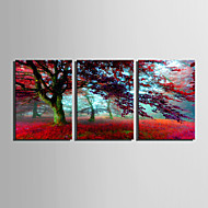 E-HOME® Stretched Canvas Art Red Tree Decorative Painting Set of 3