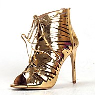 Women's Sandals Summer Fashion Boots / Ankle Strap PU  Evening / Casual Stiletto Heel Zipper / Silver / Gold Others