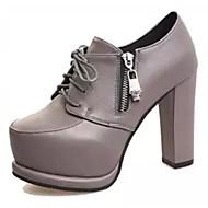 Dame-PU-Stiletthæl-Komfort-Støvler-Fritid-Svart Grå Rød