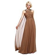 Lanting Bride® Longueur Sol Mousseline de soie Robe de Demoiselle d'Honneur  Robe de Soirée Licou avec Billes