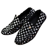 Herre-Tekstil-Flat hæl-Komfort Mokkasin-一脚蹬鞋、懒人鞋-Fritid-Blå Sølv Svart Og Gull