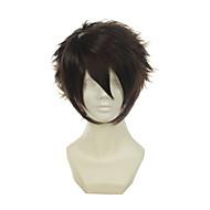 Hakuouki Окита Соджи темно-коричневый универсальный перевернутый короткий Хэллоуин парики синтетические парики Карнавальные парики