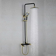 Traditional Wall Mounted Rain Shower with  Ceramic Valve Single Handle Two Holes for  Oil-rubbed Bronze , Shower Faucet