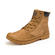 Men's Fashion Canvas Boots Outdoor / Athletic / Casual Flat Heel Split Joint / Lace-up Black / Yellow Walking