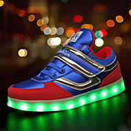 Boys' Sneakers Summer Fall Light Up Shoes Comfort Novelty PU Outdoor Athletic Casual Flat Heel Magic Tape LED Lace-up Blue Black Walking