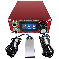 Solong tattoo Aluminum Digital LCD Display Black Color P106-2Tattoo Power SupplyFoot PedalClip Cord