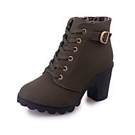 Women's Boots Fall Winter Comfort PU Casual Chunky Heel Lace-up Black Green Red Orange Other