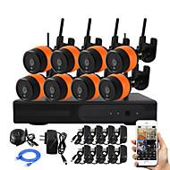Yanse® 8ch sans fil 1.0mp ir caméra nvr kit wifi ip caméra métal ip66 étanche système CCTV 720p hdmi