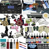 2 x tetovací strojek pro linky a stínování z litiny / 2 x rotační tetovací strojek pro linky a stínování LCD napájení50 x tetovací jehla