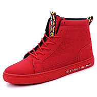 Men's Sneakers Spring / Fall Comfort PU Outdoor / Athletic / Casual Flat Heel Beading / Buckle / Lace-up Black / Red Running / Sneaker