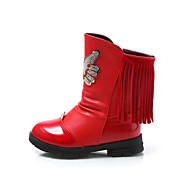 Girl's Boots Winter Comfort PU Dress / Casual Flat Heel Bowknot / Zipper / Tassel Black / Pink / Red Walking