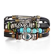 Bracelet Bracelets en cuir Alliage Turquoise Forme de Feuille Mauvais Oeil Ajustable Pierres de naissance Décontracté Regalos de Navidad
