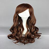 70cm brun clair perruque cosplay lolita zipper ondulée classique costume long bouclés perruque de parti