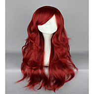 섹시한 여자 와인 65cm 긴 물결 모양의 곱슬 로리타 지퍼 고급 코스프레 가발 빨간색