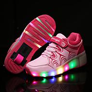 Tenisky-Kůže-Light Up boty Pohodlné-Dívčí-Černá Modrá Růžová-Outdoor Běžné Atletika-Nízký podpatek