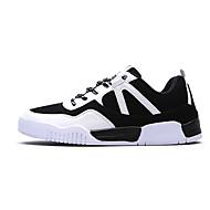 Heren Sneakers Lente Herfst Comfortabel PU Casual Platte hak Veters Zwart Blauw Grijs