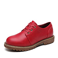 Women's Oxfords four seasons Combat Boots Leather Office & Career / Casual Flat Heel Lace-up Black / Red / Gray