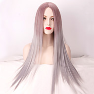 Mulher Longo Muito longo Cinza Liso Parte do meio Cabelo Ombre Cabelo Sintético Peruca de Halloween Peruca de carnaval Peruca Natural