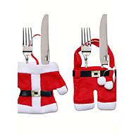 Natal decorações de mesa faca e talheres saco do Natal conjunto garfo roupas pequenas presentes Dekoration weihnachten