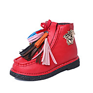 Girl's Boots Fall Winter Comfort Snow Boots PU Dress Casual Flat Heel Tassel Studded Black Red Walking