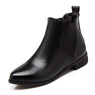 Støvler-PUDame-Sort Rød Hvid-Kontor Fritid-Lav hæl