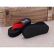 Feminino Chinelos e flip-flops PVC Verão Casual Plataforma Preto Vermelho 2,5 a 4,5 cm