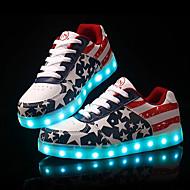 Черный Белый-Унисекс-Для прогулок Повседневный Для занятий спортом-Кожа-На низком каблуке-Удобная обувь Light Up обувь-Кеды