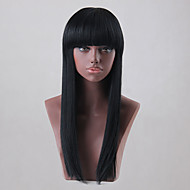 Natural   Elegant Black Long Straight Hair Human Hair Wig