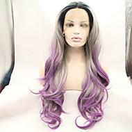 Vrouw Zwart / grijs Haar Natuurlijke haarlijn Synthetisch haar Kanten Voorkant Carnaval Pruik Natuurlijke pruik Halloween Pruik