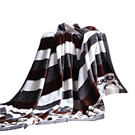 Bedtoppings Blanket Flannel Coral Fleece Fake Mink Queen Size 200x230cm Black White Stripe Prints Thicker