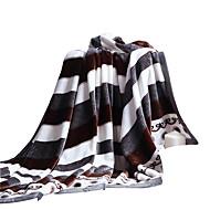 bedtoppings deka flanel korálové fleece falešný norek queen size 200x230cm černá s bílým pruhem výtisky tlustší