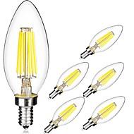 6W E14 Lâmpadas de Filamento de LED C35 6 COB 560 lm Branco Quente / Branco Frio V 6 pçs