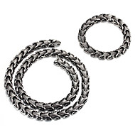 Jewelry 1 Necklace 1 Bracelet Halloween Party Daily Casual 1set Men Silver Wedding Gifts