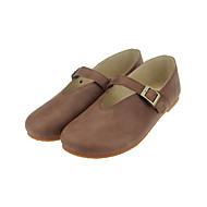 נשים-נעליים ללא שרוכים-עור-בלרינה-אפור / בורגונדי / עירום-שטח / משרד ועבודה / קז'ואל-עקב שטוח