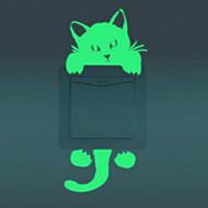 Luminous Wall Stickers Creative Cat Switch Wall Stickers