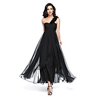 2017 TS Couture® Formal Evening Dress - Little Black Dress A-line One Shoulder Ankle-length Chiffon with Flower(s) / Ruching / Pleats