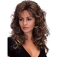 Long Body Wave Fluffy Medium Side Bang Synthetic Wigs Dark Brown Heat Resistant