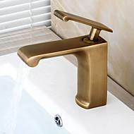 traditionelle Center-keramisk ventil enkelt håndtag et hul med antikke messing håndvasken vandhane