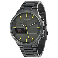 Fashion Simple Stylish Top Luxury brand TOMORO TMR8817BK Digital LCD Watches Men Black Brushed Steel Band Dial Quartz-watch Clock man 2016