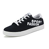 גברים-נעלי ספורט-PU-נוחות-שחור כחול לבן-יומיומי-עקב שטוח