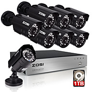 ZOSI®8CH HDMI 720P DVR CCTV Security System Remote View with 1TB Hard Drive