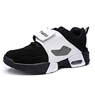 Big Size Women's Air Cushion Basketball Shoes Casual High Top Shoes Fashion Lover Shoes Flat Heel Black / Black And White EU36-43