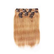 7 יח / קליפ להגדיר תוספות שיער אפר שערה אנושית חום 18inch 14inch 100% לנשים
