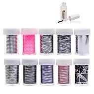 Autocolantes de Unhas 3D - Flôr - para Dedo - de Outro - com 10pcs nail foils+1pcs nail foil glue - 4cmX100cm each piece