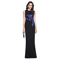 TS Couture Prom Formal Evening Dress - Ivanka Style Celebrity Style Sheath / Column High Neck Floor-length Sequined Matte Satin with