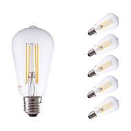 6W E26/E27 LED Glühlampen ST64 4 COB 600 lm Warmes Weiß Dimmbar / Dekorativ AC 220-240 V 6 Stück